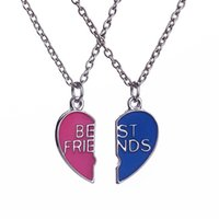 best friend jewelry necklace - 2016 New Fashion Trend Hot Personality Red blue painted oil broken heart Best Friends Couple Necklace High grade A Jewelry ZJ