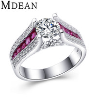 Wholesale MDEAN Pink Stone White Gold Plated Wedding Rings For Women AAA zircon Engagement vintage Ring fashion Accessories Bague MSR349