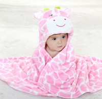 baby cow blanket - Kids Animal Bathrobe Baby Bath Towels Cotton Poncho Hooded Beach Towel Cow Cartoon Swim Towels Blankets