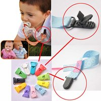Wholesale Baby Plastic Pacifier Clip Holder Soother Mam Infant Dummy Clips Chain For mm Ribbon Multi Colors for Toddler