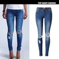 Wholesale 2016 Brand New Low Waist Super Elastic Hole Jeans Women Fashion Wild Blue Skinny Jeans Push Up Hip Vintage Pantalon Femme XXL