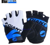 Wholesale GIANT Half Finger Cycling Gloves Nylon Bicycle Gloves Sports Gloves Road MTB Bike Gloves Guantes Ciclismo Color Bicycle parts