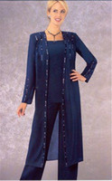 al por mayor pantalones de noche moldeados-Moldeado atractivo madre larga de la manga de los juegos de pantalones de la novia 2016 del azul real de la gasa del tamaño extra grande de los vestidos de noche formales por encargo A