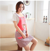 Wholesale Women cartoon sleeveless stain oil proof smocks in the kitchen clean aprons
