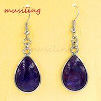 Wholesale Jewelry Water Drop Dangle Earrings Natural Gem Stone Bead Charms Accessories Silver Plated European Fashion Jewelry For Women Pairs