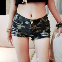 Wholesale European style sexy nightclub was thin waist jeans shorts camouflage shorts summer new