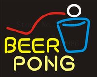 beer pong sign - NEON SIGN For Maitini Bar Open Cave Wine Beer Pong Real GLASS Tube Beer PUB Restaurant Signboard display Shop Light Signs quot