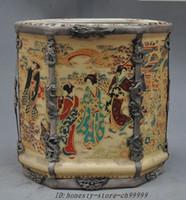 antique silver vase - christmas China Antiques Porcelain Inlay Tibet Silver Dragon Phoenix brush pot pencil vase halloween