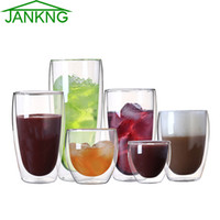 Wholesale JANKNG Heat resistant Double Wall Glass Cup Beer Coffee Cup Set Handmade Creative Beer Mug Tea Mugs Transparent Drinkware free shippin