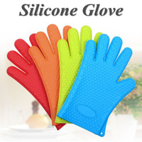Wholesale 50 Heat Resistant Silicone Glove Cooking Baking BBQ Oven Pot Holder Mitt Kitchen Red Hot Search DHL