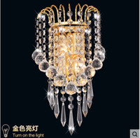 Wholesale Bedside wall lamp lamps AC85 V led wall lights brief silver Gold crystal wall lamp fashion bed lighting