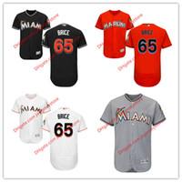 austin size - 65 Austin Brice Jersey MLB Baseball Miami Marlins Jerseys Flexbase Cool Base Black Orange Grey White size XL