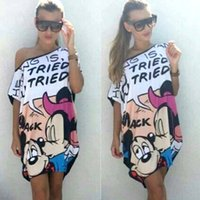 Wholesale 2016 New summer women loose cartoon mouse dress casual pritned off the shoulder mini dresss