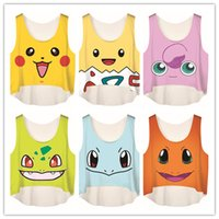Wholesale Pocket Monster Women Crop Top Summer Women Poke Go Print Tanks Fashion Camis White Clothing U Neck Casual Elastic Vest Tops Free DHL