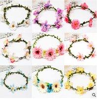 foam flowers - Fashion wedding flower garlands foam rose multicolor flower hawaii wreath basket girl headpiece