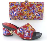 african style decorating - Cherry Lady Red Color African Shoes and Bag Decorated with Diamonds High Quality African Wedding Shoe Italian Style