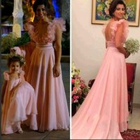good evening - Vintage Pink Chiffon Evening Dresses For Beautiful Mother And Daughter Couple Dresses Good Matching Appliques Special Occasion Dress