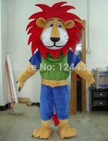 athlete halloween costumes - 2016 Hot selling Fire Red Manes Athlete Lion Animal Mascot Costumes Halloween Costume Cartoon Suit Fancy Dress Outfit