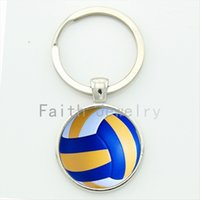 beach volleyball girls - Leisure accessories beach volleyball key chain charm volleyball picture print round glass alloy keychain ball fans gift KC255