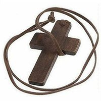 wooden cross necklace - Euramerican And Korean Style Retro Jewelry Simple Wooden Cross And Leather Rope Necklace Sweater Chain