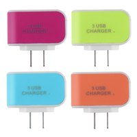 Wholesale Triple USB Ports Wall Home Travel AC Power Charger Adapter A US for IPhone for Smartphone