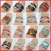 bang love - Vintage Infinity Bracelets love golden snith dream believe charm Wrap bracelet leather wrist bang girls women fashion jewelry gift