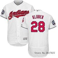 Wholesale Nik High Quality Men s Cleveland Indians Corey Kluber White World Series Bound Flexbase MLB Baseball Player Jersey