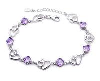 Wholesale Jimei sterling silver bracelets female models double heart amethyst bracelet Korea Korean jewelry