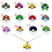 Wholesale 12 models poke Poke Ball pendant necklaces alloy Pocket Monster Action Figures Anime jewelry Christmas gift