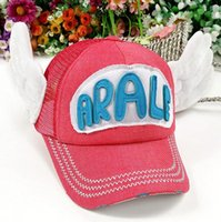 arale cap - Adult women and men summer outdoor ARALE angle wings cotton linen mesh baseball caps