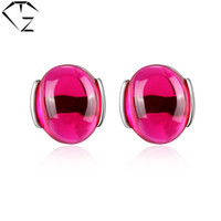 agate stud earrings - GZ Brand Sterling Silver Green Agate Brincos Ruby Garnet Stud Earring Blue Red Corundum S925 Silver Earrings Women Jewelry LE01