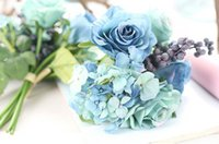 artificial christmas berries - Blue artificial rose bouquet wedding creative decorations diameter about cm include rose hydrangea and berries WT037