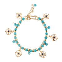 alloy faceplate - 2pcs Handmade Women Bangle DIY Material Turquoise Beaded Tassel Blue Rhinestone Faceplate Piece Combination Anklets SO