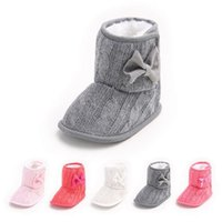 Wholesale Soft Sole Baby Booties Shoes Knitted Bow Infant Baby Ankle Boots Newborn First Walker Shoes Boys Girls Crochet Moccasins Toddlers for Winter