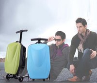 airport luggage trolley - New unisex wheels PC material scooter luggage sports Aluminum Alloy travel trolley luggage airport luggage scooter