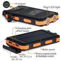 Wholesale 10000mAh Solar Panel Power Bank with Flashlight Dual USB Port Waterproof Shockproof mAh Portable Solar powerbank Battery Pack Charger