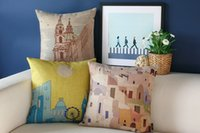 beautiful watercolor - beautiful scenic watercolor church London Greece Santorini pattern linen cushion cover home cafe decorative throw pillow Case