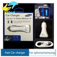 Wholesale 2016 New Dual USB Adaptive QC2 LED Quick Charge Fast Car Charger With m USB Cable For Samsung Galaxy Note S6 Edge
