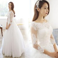 Wholesale Luxury lace one shoulder Korean style Princess Bride long sleeve wedding gowns winter new