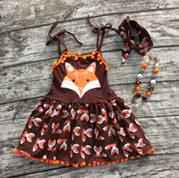 animals boutique - 2016 girls clothes baby kids summer braces brown orange happy fox animal dress boutique with matching necklace and headband set