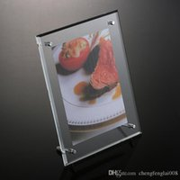 acrylic picture display - New Stock Clear Acrylic Photo Frames A4 Eight Size Picture Display Holder Desk Stand Picture Frame with Aluminum rod