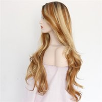 beautiful gifts wigs - straight long wig ombre brown brown natural cosplay synthetic lace front wig for beautiful girl gifts glueless natural new style