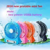 Wholesale HOT Portable mute USB mini fan two power USB battery Table LED Fan Speeds Mini fan DHL retail box charging cable