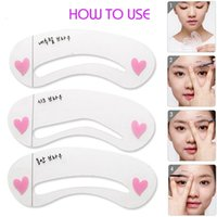 Wholesale 3pcs set Styles Eyebrow Grooming Stencil Kit Beauty DIY Shaping Templates Threading Thrush Card Eyebrows Tools