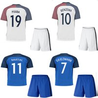 Wholesale 2016 home and away soccer jersey MARTIAL GOTZE GRIEZMANN GIROUD POGBA home and away jersey shirt with shorts