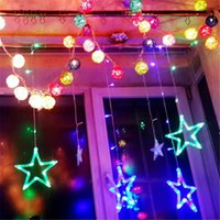 christmas lights and decorations - 110V Bulbs m Width Large Star Curtain Fancy String Light connectable led curtain light christmas and wedding decoration light