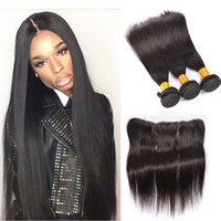 Wholesale Cheap Hair Lace Closure Piece - Brazilian Straight Lace Frontal Closure 3pcs With Bundles Cheap Human Hair With Closure Piece Peruvian Silk Straight With Lace Frontal