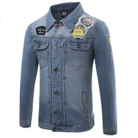 acid wash clothing - Men s Casual Jeans Jackets Denim Jacket Men Ripped Applique Acid Wash Blue Male Coat Outerwear Clothing Spring Autumn XL