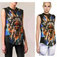 Wholesale Women Clothing Metal Button Hipster balmain Indian Chief Graphic Brand Sleeveless balmain Camisetas Cotton Tops Tshirt Tee T Shirt