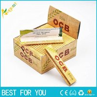 arabic gum - Newest OCB Slim Flax Rolling Smoking Papers Natural Arabic Gum Papers Organic Herb Unbleached Pure Cigarette Paper Size mm booklets